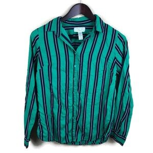 Midnight Sky Womens Blouse, Green Blue Small